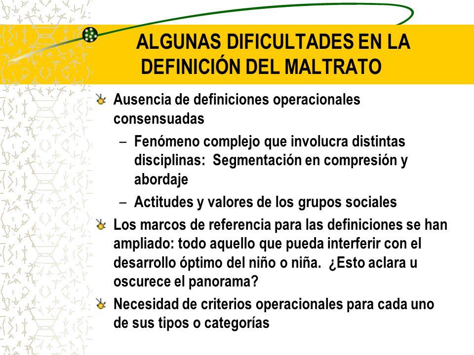 ALGUNAS DIFICULTADES EN LA DEFINICIÓN DEL MALTRATO Ausencia de definiciones operacionales consensuadas – Fenómeno complejo que involucra distintas dis