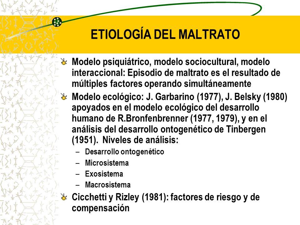 ETIOLOGÍA DEL MALTRATO Modelo psiquiátrico, modelo sociocultural, modelo interaccional: Episodio de maltrato es el resultado de múltiples factores ope