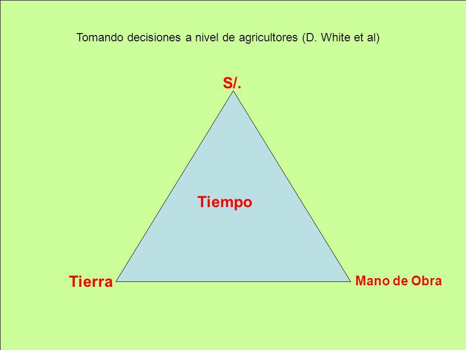 Tomando decisiones a nivel de agricultores (D. White et al) S/. Mano de Obra Tierra Tiempo