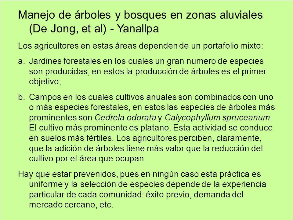 Manejo de árboles y bosques en zonas aluviales (De Jong, et al) - Yanallpa Los agricultores en estas áreas dependen de un portafolio mixto: a.Jardines