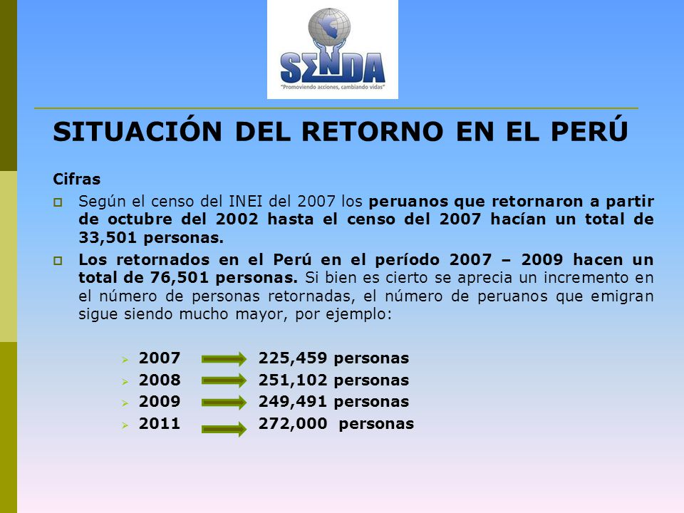 SITUACIÓN DEL RETORNO EN EL PERÚ Cifras Según el censo del INEI del 2007 los peruanos que retornaron a partir de octubre del 2002 hasta el censo del 2007 hacían un total de 33,501 personas.