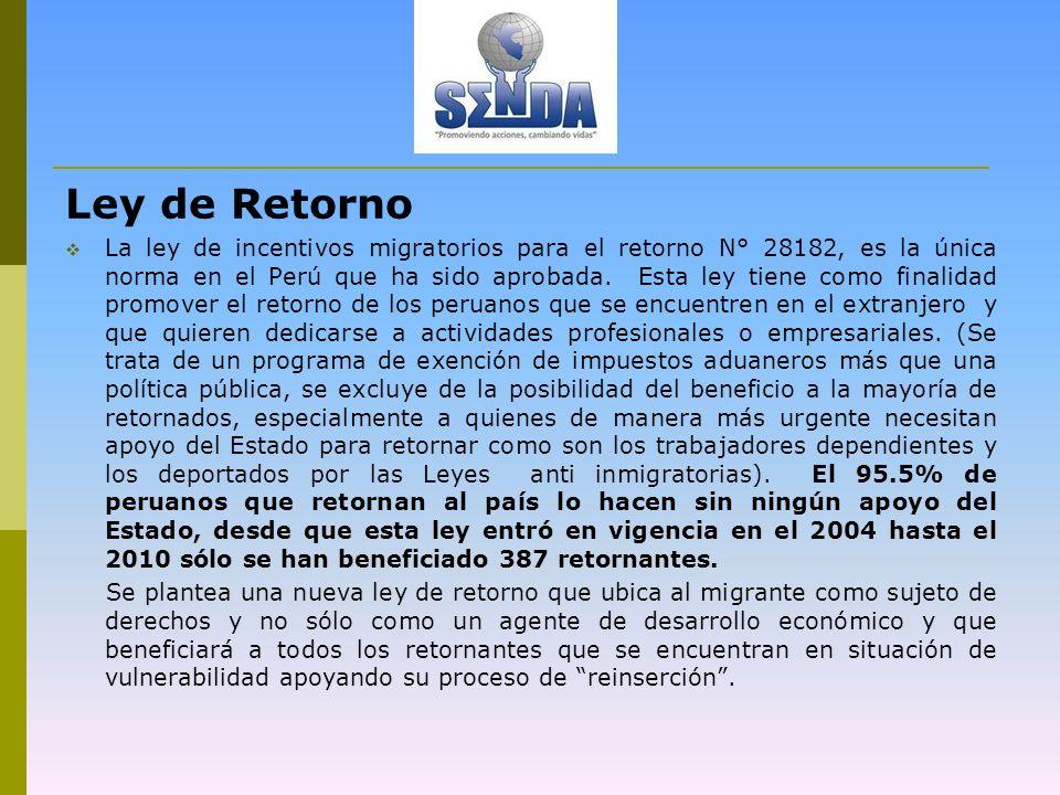 Ley de Retorno La ley de incentivos migratorios para el retorno N° 28182, es la única norma en el Perú que ha sido aprobada.