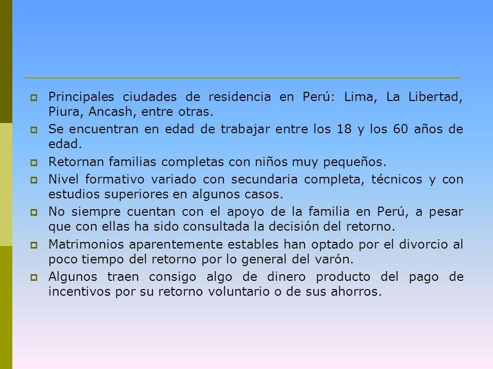 Principales ciudades de residencia en Perú: Lima, La Libertad, Piura, Ancash, entre otras.