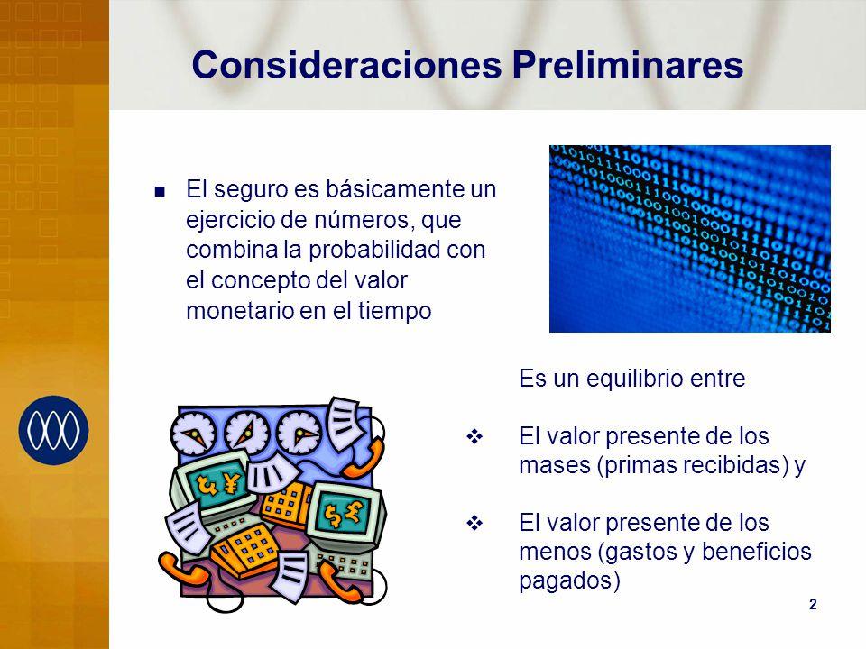 2 Consideraciones Preliminares El seguro es básicamente un ejercicio de números, que combina la probabilidad con el concepto del valor monetario en el