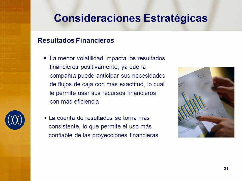 21 Consideraciones Estratégicas Resultados Financieros La menor volatilidad impacta los resultados financieros positivamente, ya que la compañía puede