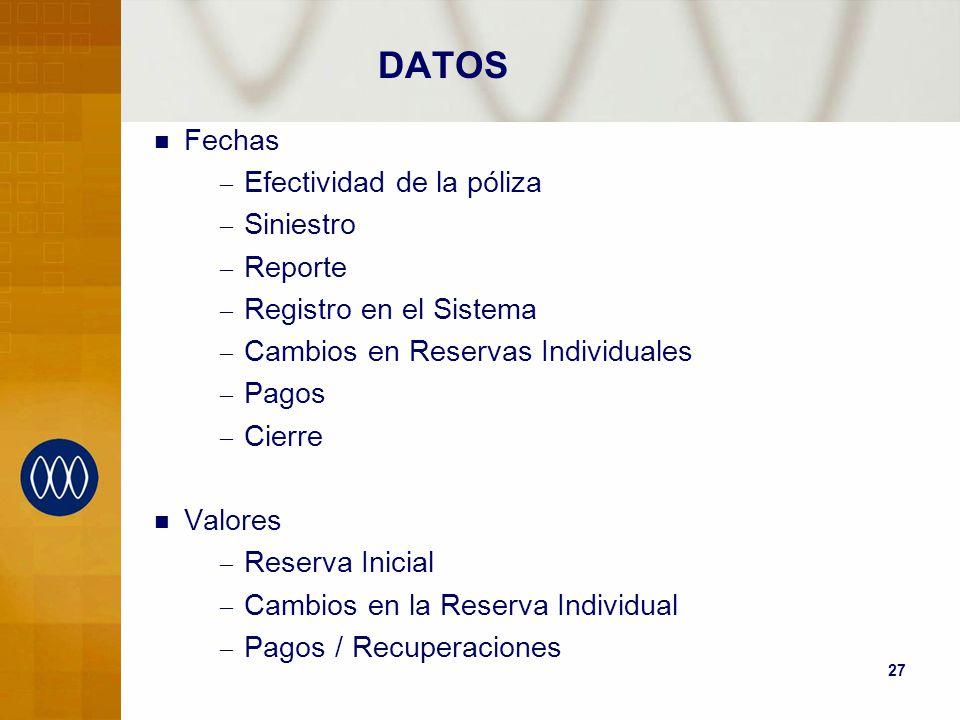 27 DATOS Fechas – Efectividad de la póliza – Siniestro – Reporte – Registro en el Sistema – Cambios en Reservas Individuales – Pagos – Cierre Valores