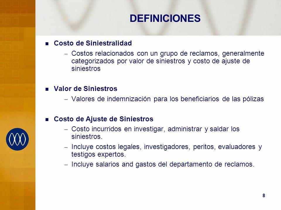 8 DEFINICIONES Costo de Siniestralidad – Costos relacionados con un grupo de reclamos, generalmente categorizados por valor de siniestros y costo de a