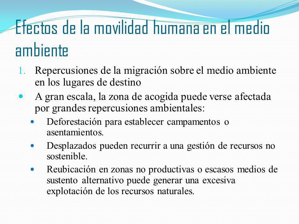 Efectos de la movilidad humana en el medio ambiente Repercusiones de la migración sobre el medio ambiente en los lugares de destino A gran escala, la
