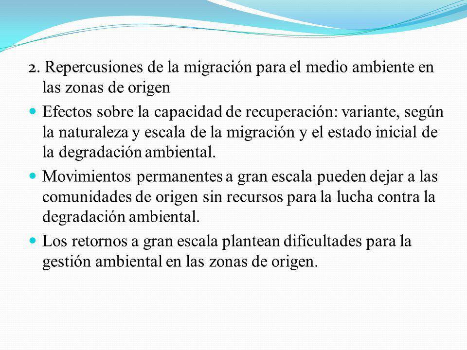 2. Repercusiones de la migración para el medio ambiente en las zonas de origen Efectos sobre la capacidad de recuperación: variante, según la naturale