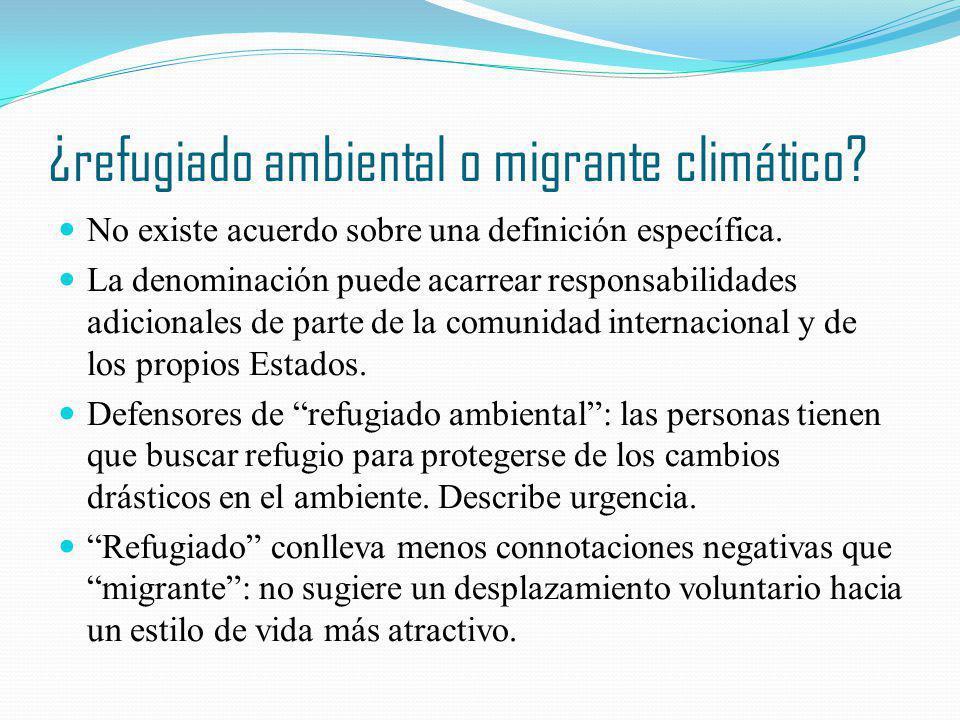 ¿refugiado ambiental o migrante climático? No existe acuerdo sobre una definición específica. La denominación puede acarrear responsabilidades adicion