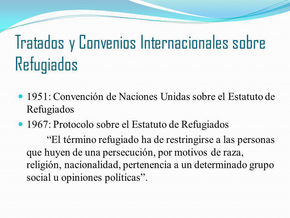 Tratados y Convenios Internacionales sobre Refugiados 1951: Convención de Naciones Unidas sobre el Estatuto de Refugiados 1967: Protocolo sobre el Est