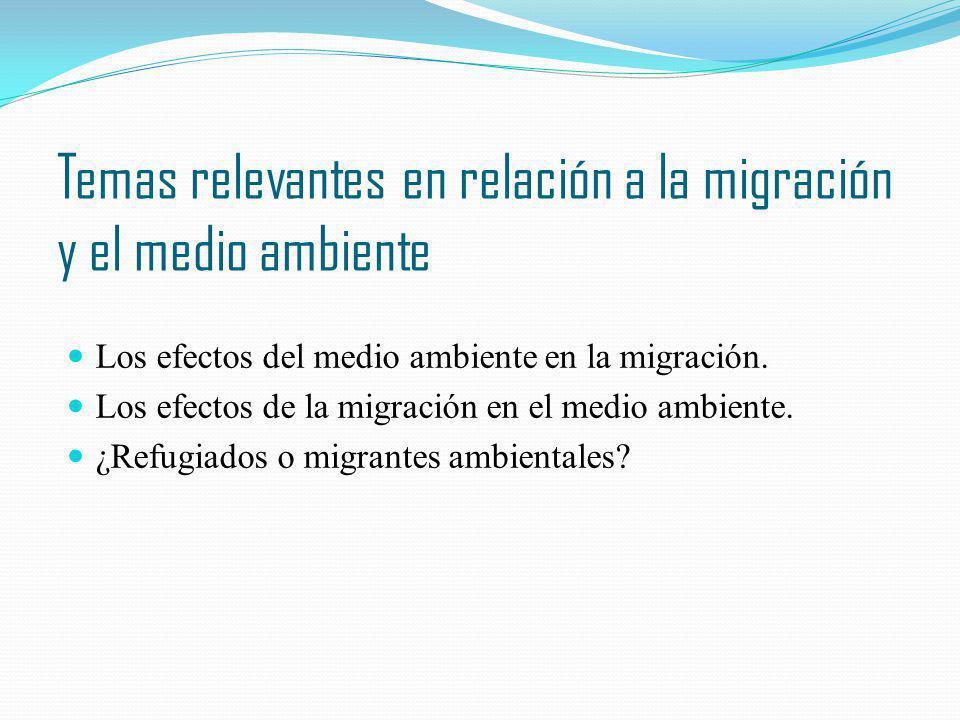 Temas relevantes en relación a la migración y el medio ambiente Los efectos del medio ambiente en la migración. Los efectos de la migración en el medi