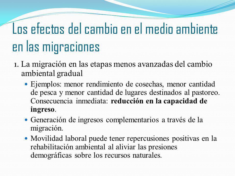 Los efectos del cambio en el medio ambiente en las migraciones 1. La migración en las etapas menos avanzadas del cambio ambiental gradual Ejemplos: me