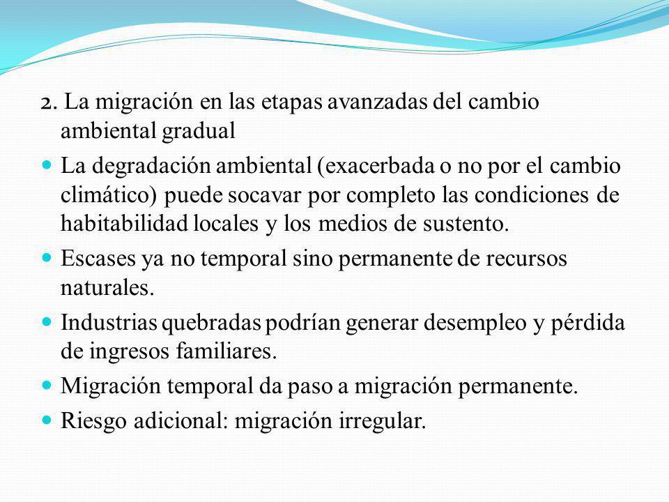 2. La migración en las etapas avanzadas del cambio ambiental gradual La degradación ambiental (exacerbada o no por el cambio climático) puede socavar