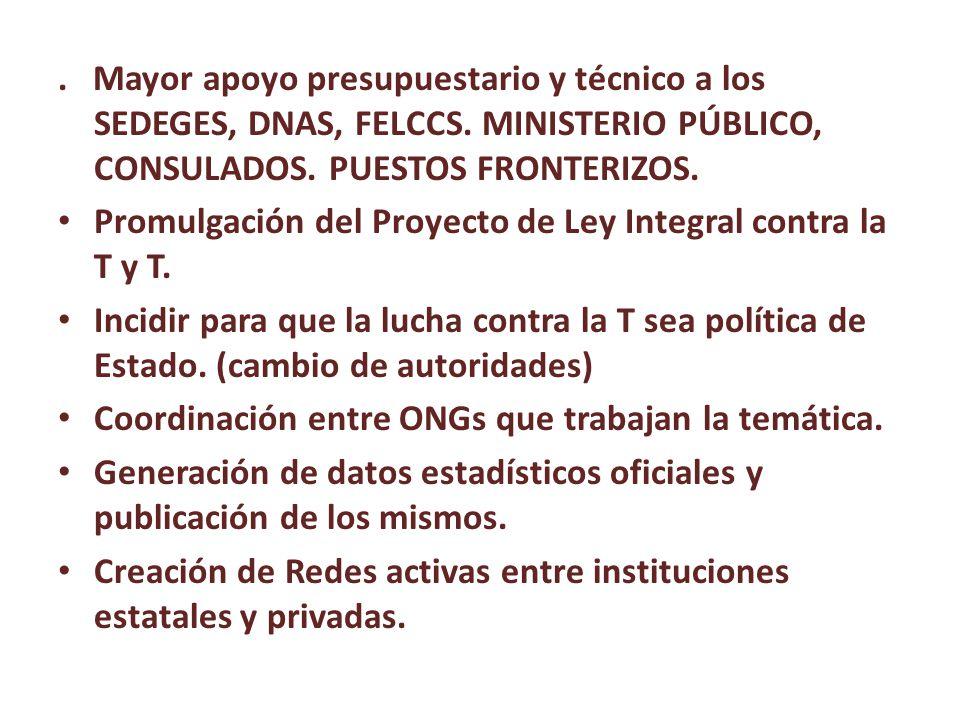 Mayor apoyo presupuestario y técnico a los SEDEGES, DNAS, FELCCS.