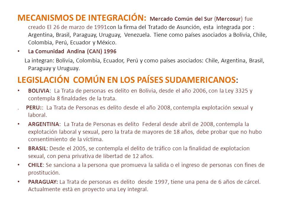 MECANISMOS DE INTEGRACIÓN: Mercado Común del Sur (Mercosur) fue creado El 26 de marzo de 1991con la firma del Tratado de Asunción, esta integrada por : Argentina, Brasil, Paraguay, Uruguay, Venezuela.