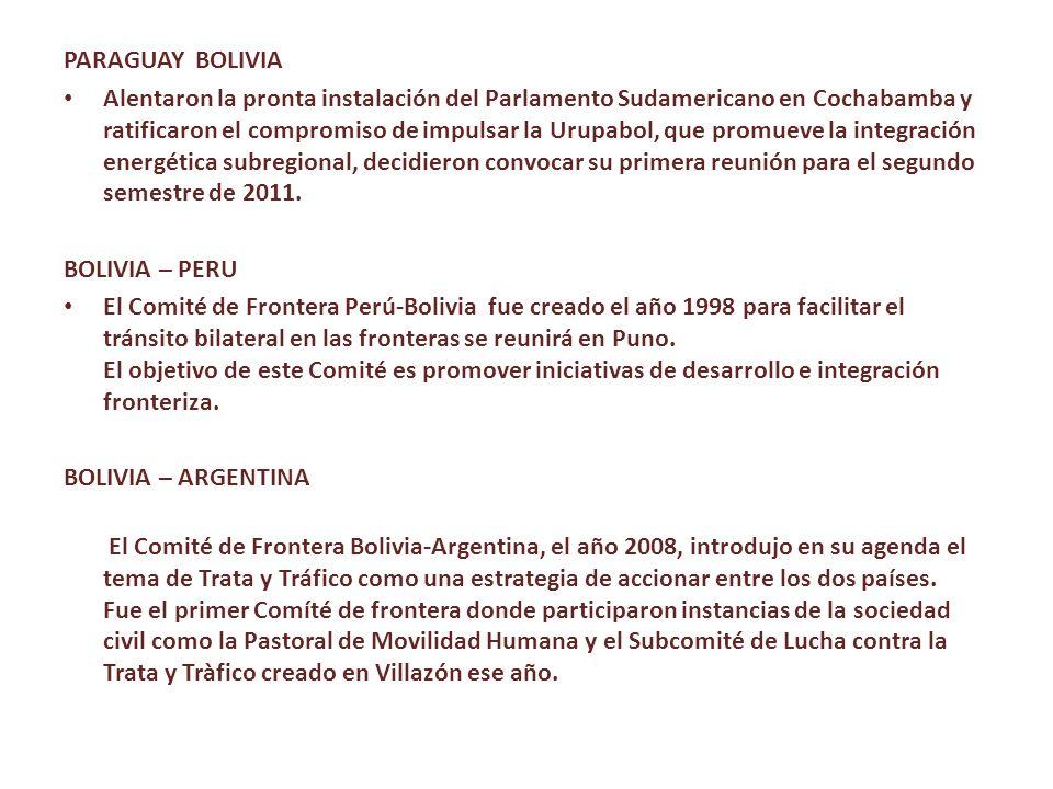 PARAGUAY BOLIVIA Alentaron la pronta instalación del Parlamento Sudamericano en Cochabamba y ratificaron el compromiso de impulsar la Urupabol, que promueve la integración energética subregional, decidieron convocar su primera reunión para el segundo semestre de 2011.