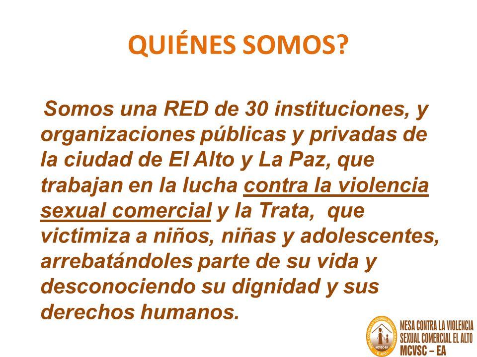 QUIÉNES SOMOS? Somos una RED de 30 instituciones, y organizaciones públicas y privadas de la ciudad de El Alto y La Paz, que trabajan en la lucha cont