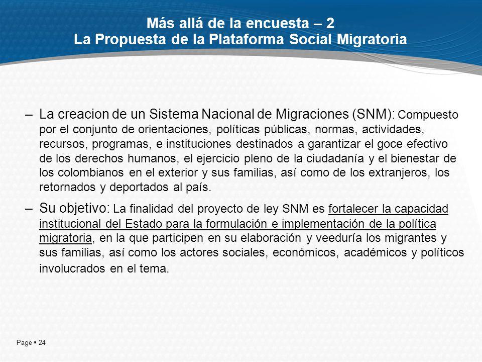 Page 24 Más allá de la encuesta – 2 La Propuesta de la Plataforma Social Migratoria –La creacion de un Sistema Nacional de Migraciones (SNM): Compuest