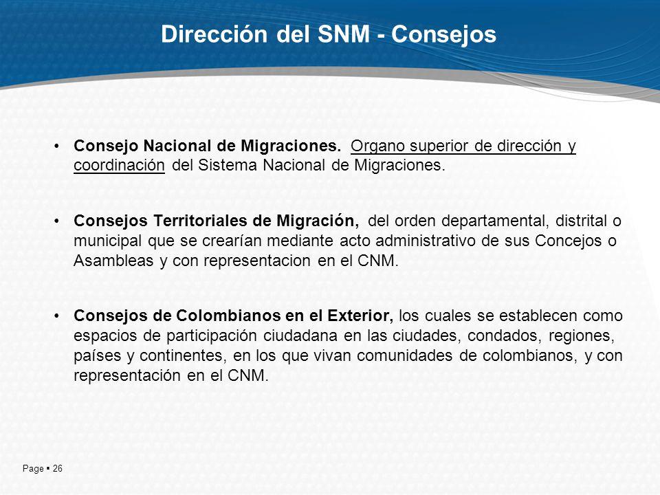 Page 26 Dirección del SNM - Consejos Consejo Nacional de Migraciones. Organo superior de dirección y coordinación del Sistema Nacional de Migraciones.