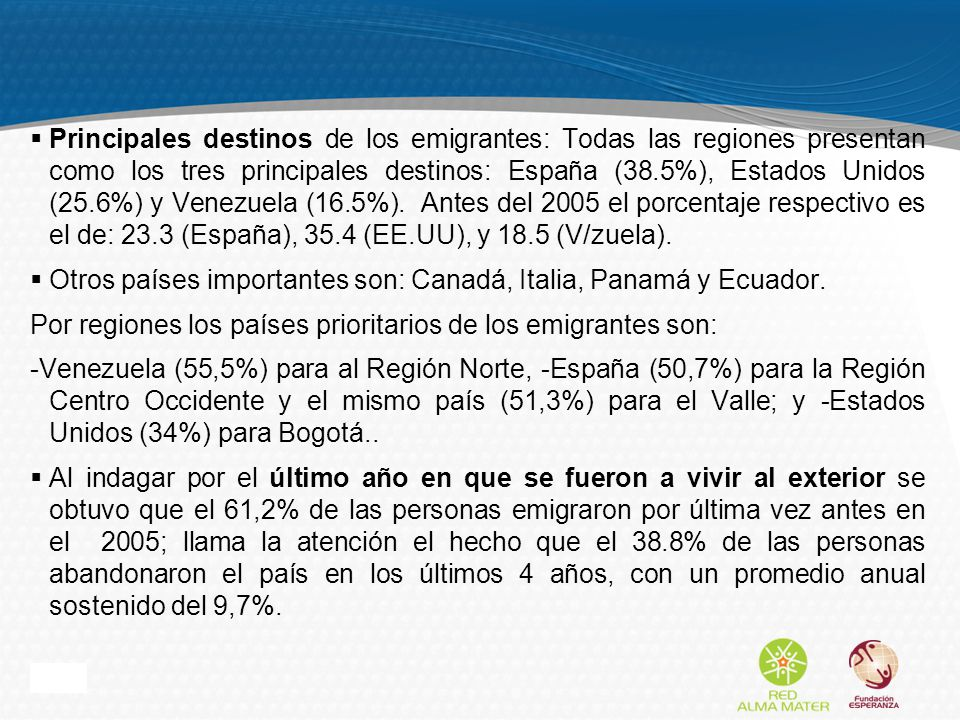 Page 9 Principales destinos de los emigrantes: Todas las regiones presentan como los tres principales destinos: España (38.5%), Estados Unidos (25.6%) y Venezuela (16.5%).