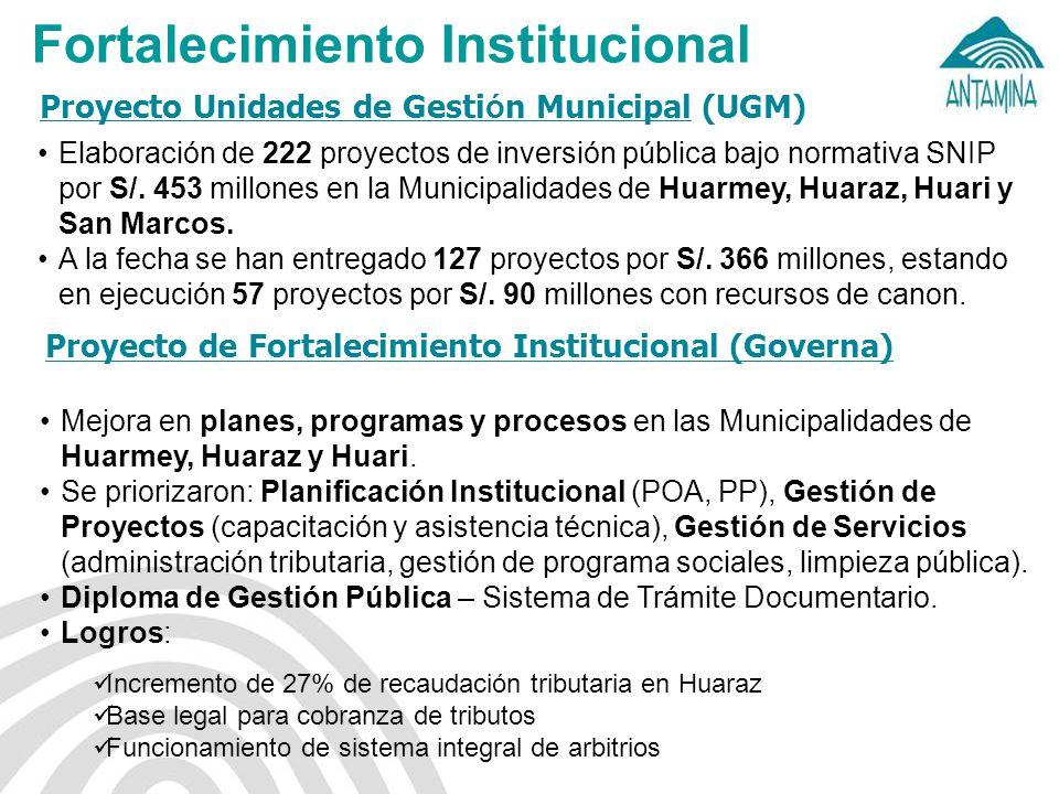 Proyecto Unidades de Gesti ó n Municipal (UGM) Fortalecimiento Institucional Elaboración de 222 proyectos de inversión pública bajo normativa SNIP por S/.