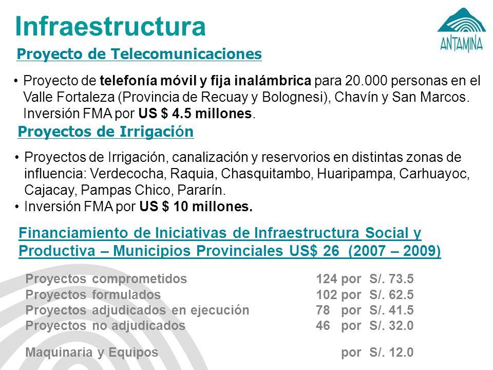 Infraestructura Proyecto de Telecomunicaciones Proyecto de telefonía móvil y fija inalámbrica para 20.000 personas en el Valle Fortaleza (Provincia de Recuay y Bolognesi), Chavín y San Marcos.