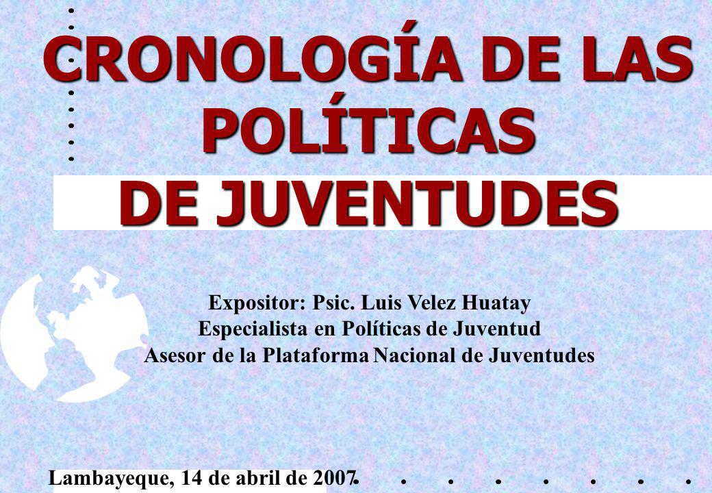 CRONOLOGÍA DE LAS POLÍTICAS DE JUVENTUDES Expositor: Psic.