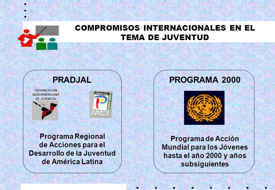 COMPROMISOS INTERNACIONALES EN EL TEMA DE JUVENTUD PRADJAL Programa Regional de Acciones para el Desarrollo de la Juventud de América Latina PROGRAMA 2000 Programa de Acción Mundial para los Jóvenes hasta el año 2000 y años subsiguientes ORGANIZACIÓNIBEROAMERICANA DE JUVENTUD