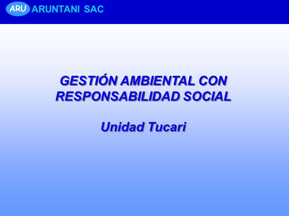 ARU ARUNTANI SAC GESTIÓN AMBIENTAL CON RESPONSABILIDAD SOCIAL Unidad Tucari GESTIÓN AMBIENTAL CON RESPONSABILIDAD SOCIAL Unidad Tucari