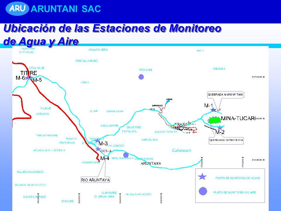 ARU ARUNTANI SAC Ubicación de las Estaciones de Monitoreo de Agua y Aire