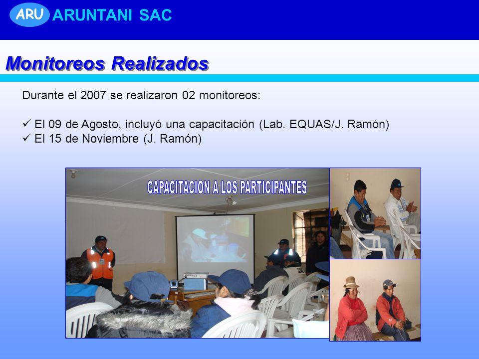 Durante el 2007 se realizaron 02 monitoreos: El 09 de Agosto, incluyó una capacitación (Lab. EQUAS/J. Ramón) El 15 de Noviembre (J. Ramón) ARU ARUNTAN