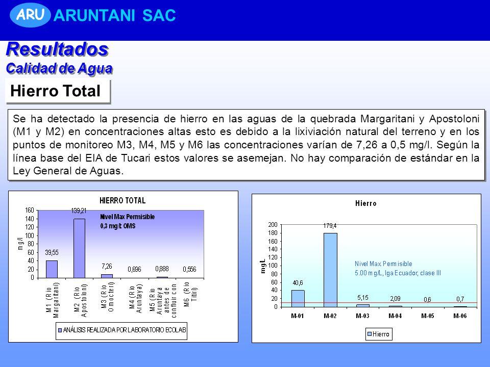 Hierro Total Se ha detectado la presencia de hierro en las aguas de la quebrada Margaritani y Apostoloni (M1 y M2) en concentraciones altas esto es debido a la lixiviación natural del terreno y en los puntos de monitoreo M3, M4, M5 y M6 las concentraciones varían de 7,26 a 0,5 mg/l.