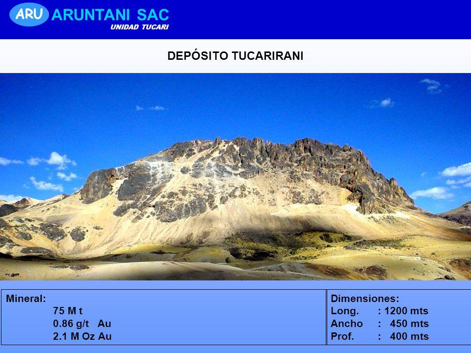 DEPÓSITO TUCARIRANI Mineral: 75 M t 0.86 g/t Au 2.1 M Oz Au Dimensiones: Long. : 1200 mts Ancho : 450 mts Prof. : 400 mts ARU ARUNTANI SAC UNIDAD TUCA