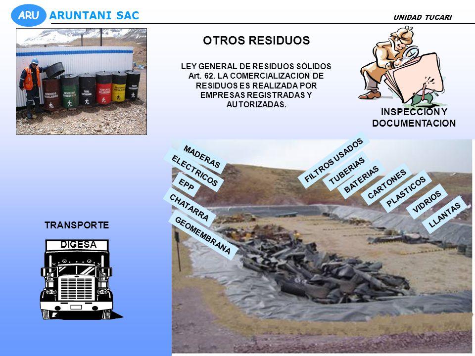 TRATAMIENTO DEL ACEITE RESIDUAL FILTROS CON ACEITE, FILTROS SIN ACEITE, TRAPOS CONTAMINADOS FILTRADO INSPECCION Y DOCUMENTACION DISPOSICION FINAL: TANQUE DE 7000 gln TRANSPORTE AUTORIZADO PARA LA COMPRA DEL ACEITE RESIDUAL UNIDAD TUCARI ARU ARUNTANI SAC MANEJO DE ACEITE RESIDUAL