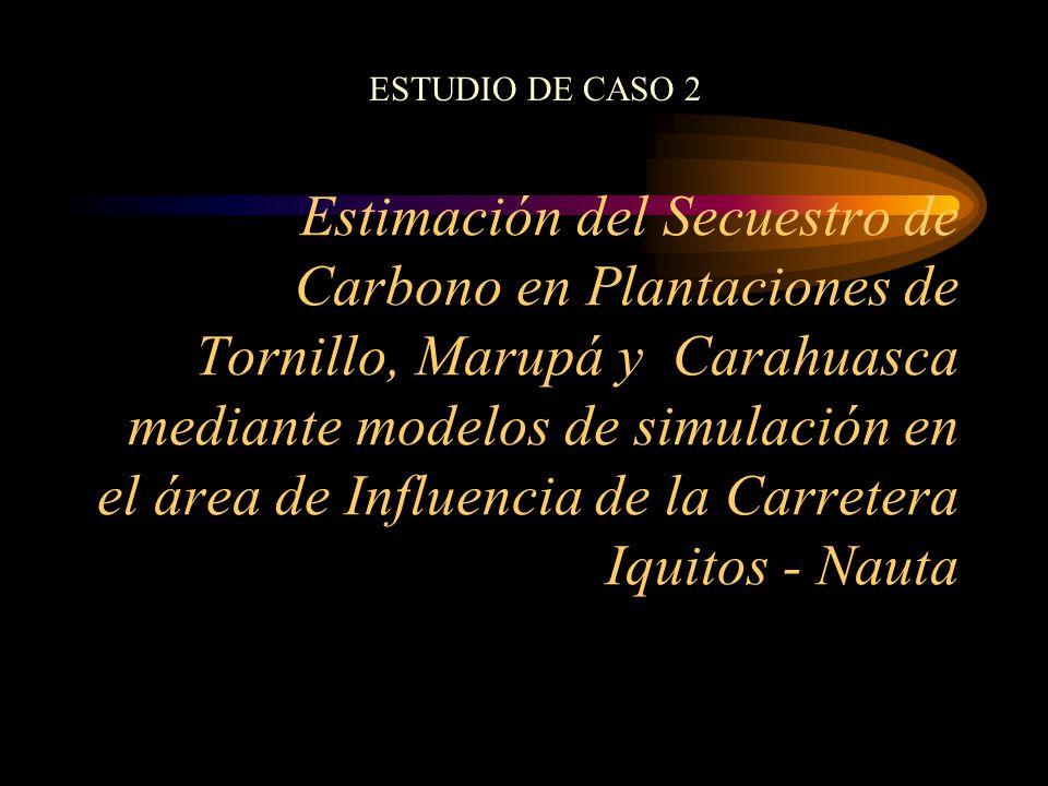 Estimación del Secuestro de Carbono en Plantaciones de Tornillo, Marupá y Carahuasca mediante modelos de simulación en el área de Influencia de la Car