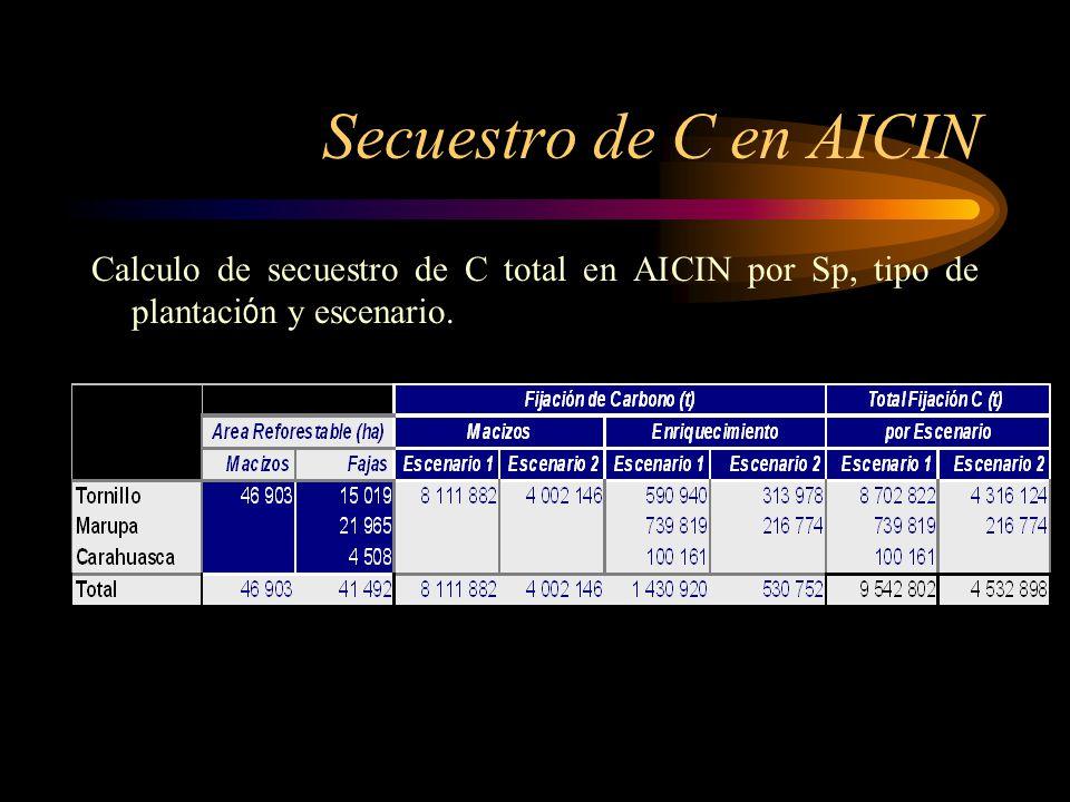 Secuestro de C en AICIN Calculo de secuestro de C total en AICIN por Sp, tipo de plantaci ó n y escenario.