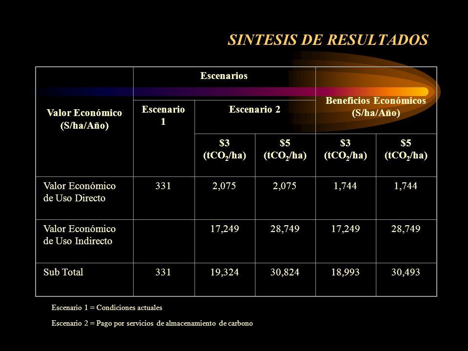 SINTESIS DE RESULTADOS Valor Económico (S/ha/Año) Escenarios Beneficios Económicos (S/ha/Año) Escenario 1 Escenario 2 $3 (tCO 2 /ha) $5 (tCO 2 /ha) $3