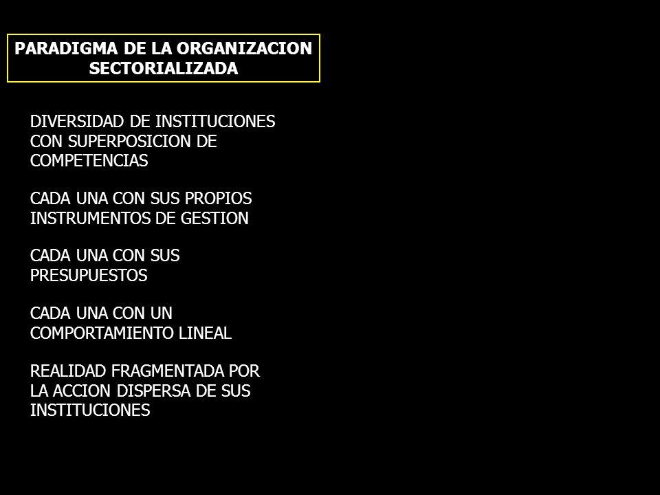 PARADIGMA DE LA ORGANIZACION SECTORIALIZADA PARADIGMA DE LA ORGANIZACION TERRITORIAL DIVERSIDAD DE INSTITUCIONES CON SUPERPOSICION DE COMPETENCIAS CAD