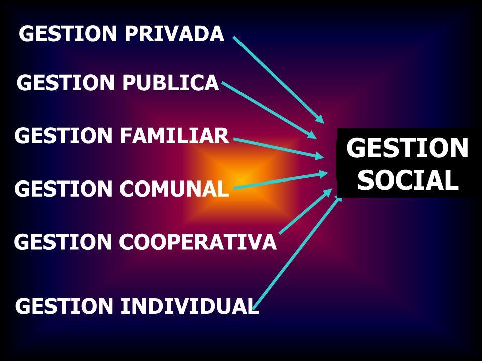 GESTION PRIVADA GESTION PUBLICA GESTION FAMILIAR GESTION COMUNAL GESTION COOPERATIVA GESTION INDIVIDUAL PLANIFICACION PARTICIPATIVA GESTION SOCIAL