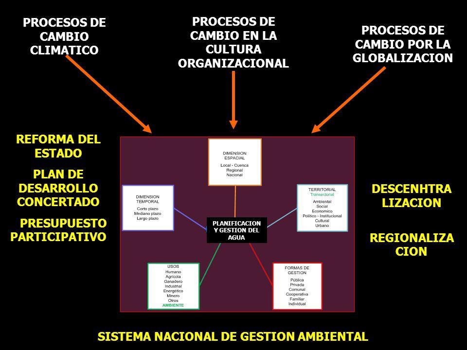 PROCESOS DE CAMBIO CLIMATICO PROCESOS DE CAMBIO POR LA GLOBALIZACION PROCESOS DE CAMBIO EN LA CULTURA ORGANIZACIONAL DESCENHTRA LIZACION REGIONALIZA C