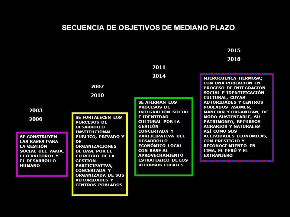 SE CONSTRUYEN LAS BASES PARA LA GESTIÓN SOCIAL DEL AGUA, ELTERRITORIO Y EL DESARROLLO HUMANO 2003 2006 SE FORTALECEN LOS PORCESOS DE DESARROLLO INSTIT