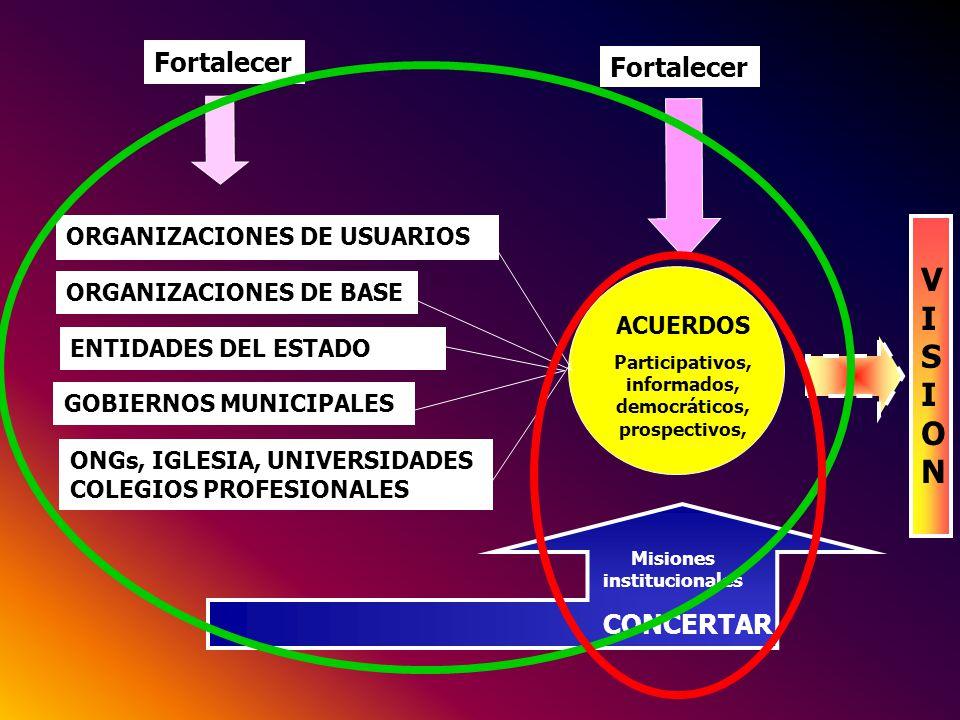 GOBIERNOS MUNICIPALES ORGANIZACIONES DE USUARIOS ORGANIZACIONES DE BASE ENTIDADES DEL ESTADO ONGs, IGLESIA, UNIVERSIDADES COLEGIOS PROFESIONALES Forta