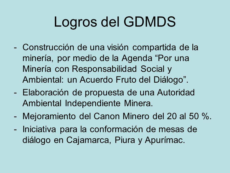 Logros del GDMDS -Construcción de una visión compartida de la minería, por medio de la Agenda Por una Minería con Responsabilidad Social y Ambiental: un Acuerdo Fruto del Diálogo.