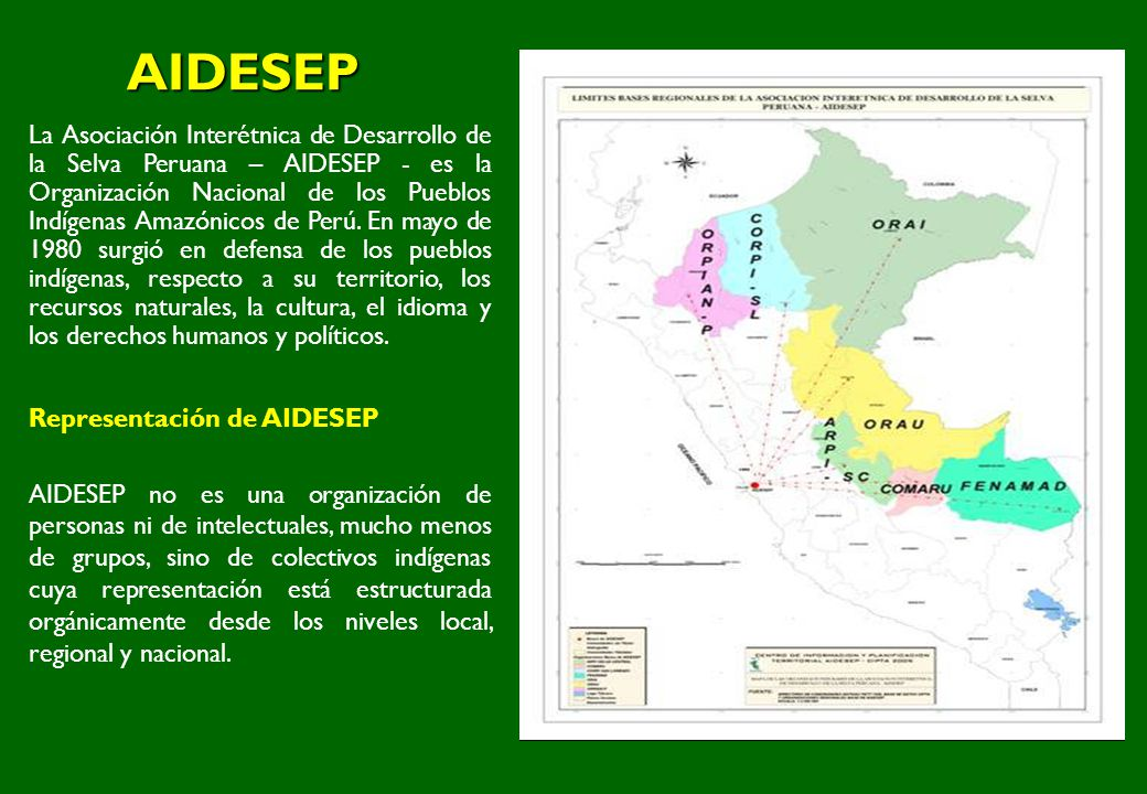 AIDESEP La Asociación Interétnica de Desarrollo de la Selva Peruana – AIDESEP - es la Organización Nacional de los Pueblos Indígenas Amazónicos de Per