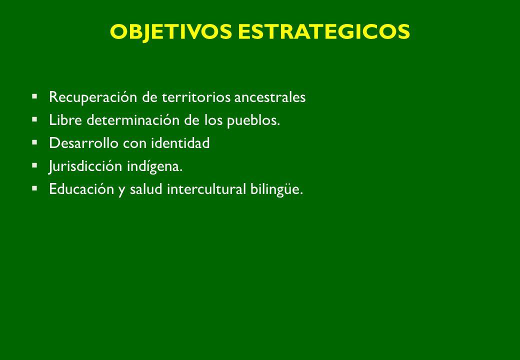 OBJETIVOS ESTRATEGICOS Recuperación de territorios ancestrales Libre determinación de los pueblos. Desarrollo con identidad Jurisdicción indígena. Edu