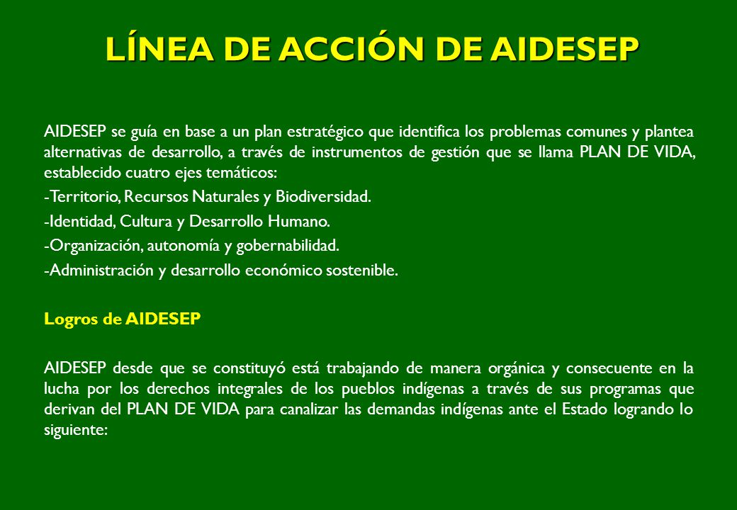 LÍNEA DE ACCIÓN DE AIDESEP Programa de Territorio y Recursos Naturales: TIERRAS INDIGENAS TITULADAS: BASES REGIONALES DE AIDESEP* N° TOTALN° CCNN EXTENSION ORGANIZACIÓN CC.NNTITULADAS POR TITULAR REGIONALOCUPADA X CCNN ORAI3732809327 899,855.754´025,300.82 ORAU3022633914´240,277.503´150,325.48 CORPI LORENZO266215516´634,413.462´500,000.00 ORPIAN-P182170125´562,356.361´519,811.58 ARPI-SC269244253´446,090.651´350,684.83 COMARU48 01´739,669.04877, 790.62 FENAMAD292438´485,750.65365,040.57 TOTAL1469124422368 008,413.7013´788,953.90 * Datos a abril 2005