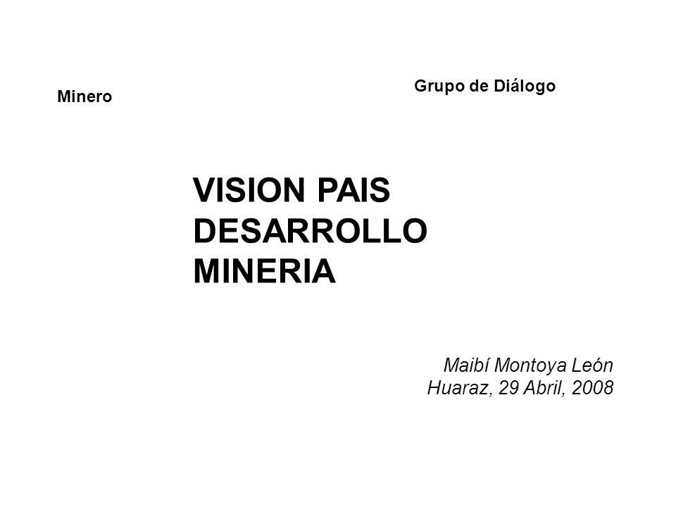 Grupo de Diálogo Minero VISION PAIS DESARROLLO MINERIA Maibí Montoya León Huaraz, 29 Abril, 2008