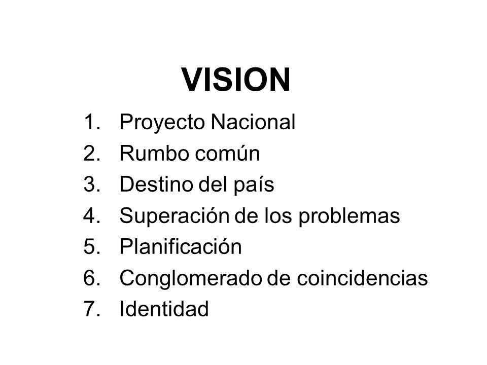 VISION 1. Proyecto Nacional 2. Rumbo común 3. Destino del país 4. Superación de los problemas 5. Planificación 6. Conglomerado de coincidencias 7. Ide