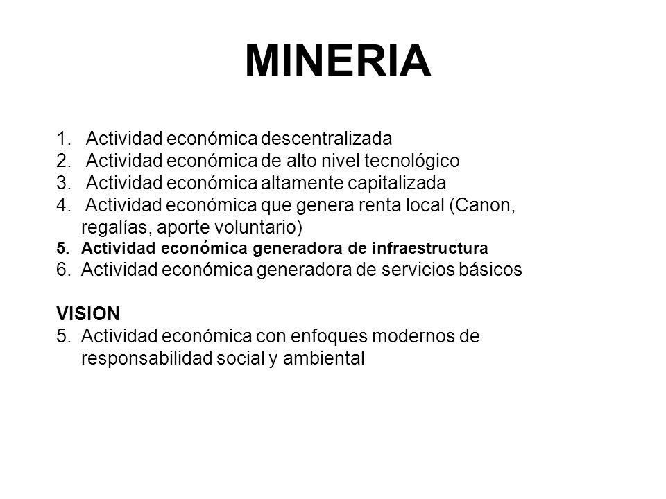 MINERIA 1. Actividad económica descentralizada 2. Actividad económica de alto nivel tecnológico 3. Actividad económica altamente capitalizada 4. Activ